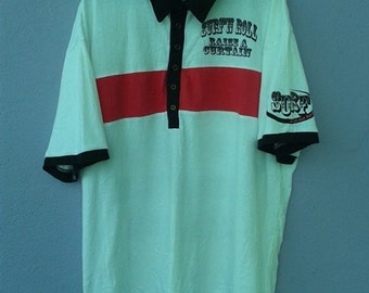 vintage retro surf and roll by defectine struct polo shirt
