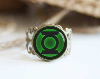 Green lantern superhero 25mm adjustable ring, antique silver or antique bronze, cool jewelry