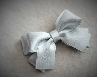 Holiday Silver Hair Bow Clip