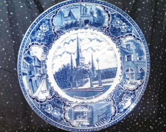 Blue and White Ye Olde Historical Pottery Collector's Plate