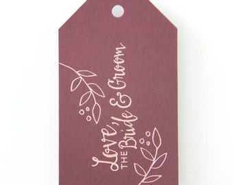 Love the Bride and Groom Personalized Wedding Gift Tags, set of 25 - Custom Foil Stamped Luggage Gift Tags, Wedding Favor Gift Tags 021-5