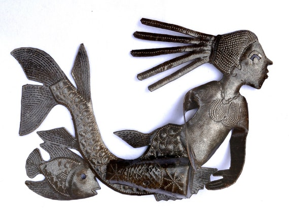 "Musical Mermaid beating a 3- D Drum with traditional veve, Haiti Recycled Metal Wall Art, 10 1/2"" x 6 1/2"""