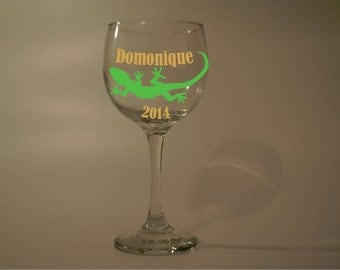 Lizard Gecko Wine Glass Name/Wording personalized (Free)