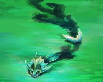 Vaporeon Swimming Print