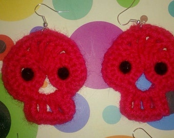 Sugar skull crocheted earrings