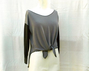 Grey & Black - Two-colored and three quarter sleeves pullover, top in cotton , recycling and assembly of pullover