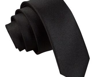 Satin Black Skinny Tie