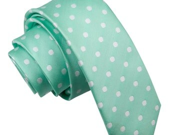 Polka Dot Mint Green Skinny Tie