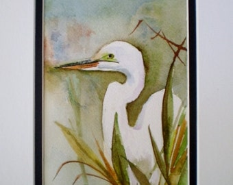 Egret painting,  Florida birds,  coastal painting, ORIGINAL watercolor.