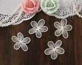 4 Pieces Ivory/Beige Bridal Applique, Alencon Lace Applique, Bridal Headpiece Applique,Organza Flowers For DIY Dress,Bridal Hair Accessories