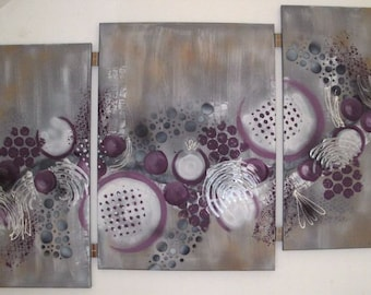 Purple abundance, abstract paintings on canvas