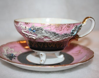 Dragonware Pink Tea Cup With Black And Gold Accents