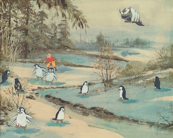 Otter Penguins is an homage to Avatar the Last Airbender. It is a PRINT of a unique collage and paint piece of thrift store art.