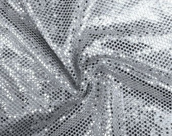 Silver Shiny Sequin Dot Confetti Fabric for Sewing Costumes Apparel Crafts by the Yard