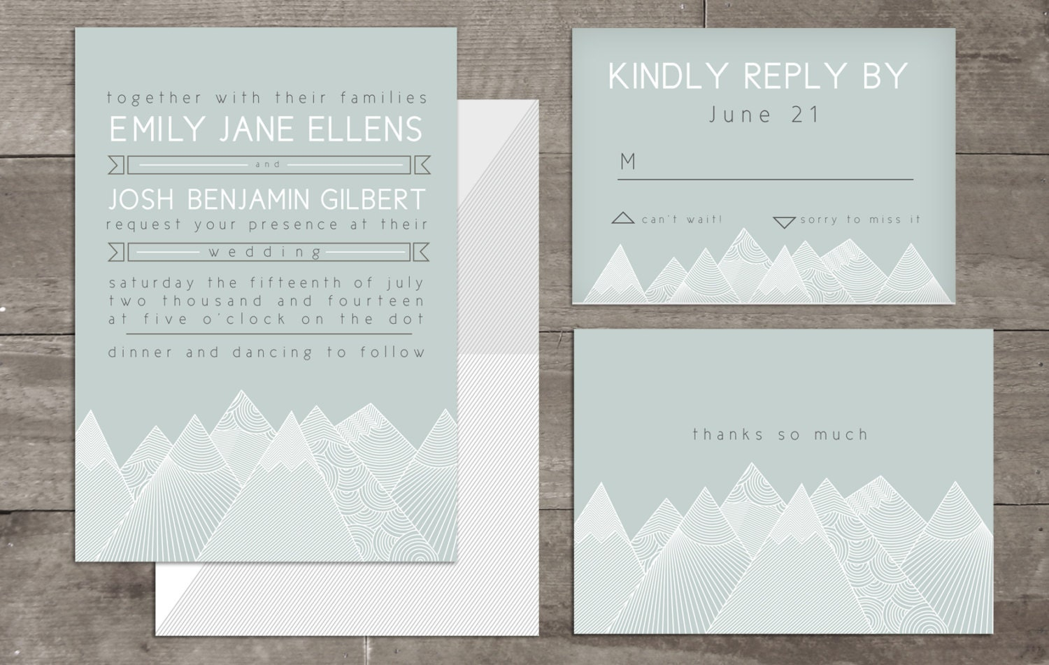 Ready To Print Wedding Invitations: Geometric Mountain Customizable Wedding Invitation Package