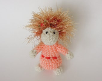 Crochet amigurumi - Pink the Piny - hairy creature, stuffed animals, soft toy, home decor, MADE to ORDER
