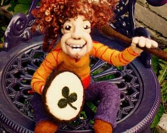 OOAK Needle Felted Doll - Little Irish Bodhran Player
