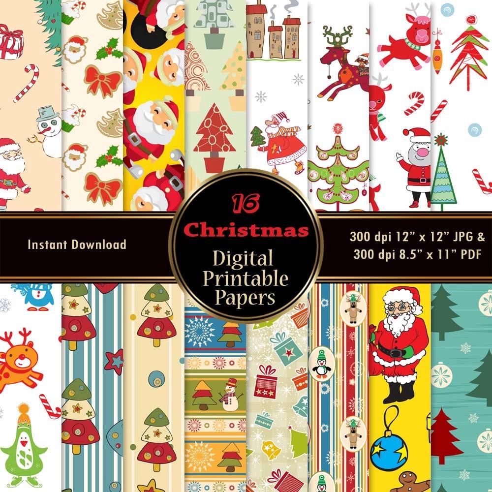 weihnachten digital papers 16 digital scrapbook papier pack. Black Bedroom Furniture Sets. Home Design Ideas
