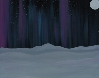 Winter Painting. Northern Lights Painting. Aurora Borealis Painting. Wall Art. Home or Office Decor. Artist Eva Tormey.