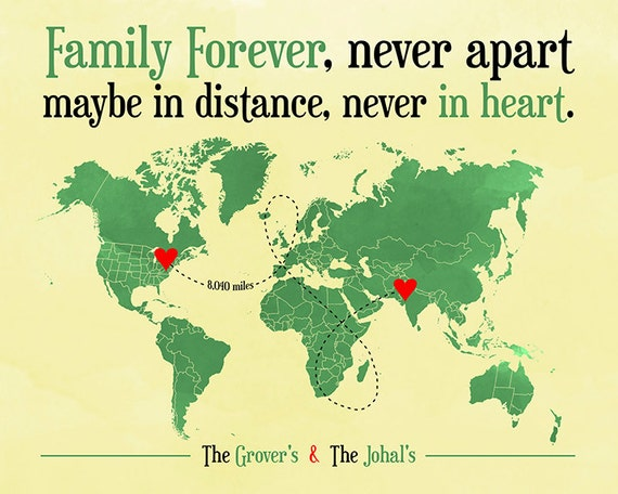 Long Distance Family Friend Gift Map Gift For By