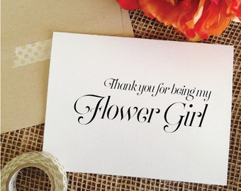 Thank you flower girl Card THANK YOU for being my flower girl Thank You Card From the Bride (Sophisticated)