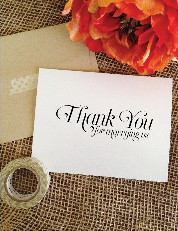 Wedding Officiant Card Thank You For Marrying By WeddingAffections