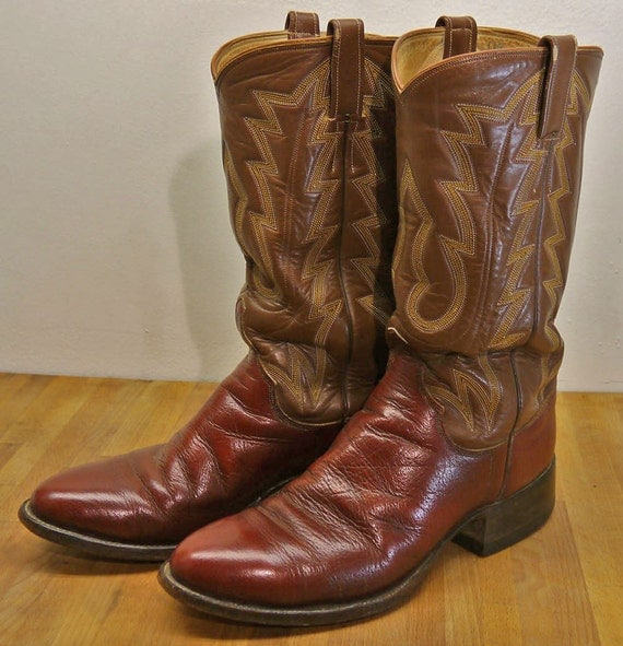 JL Mercer brown leather custom cowboy boots NICE