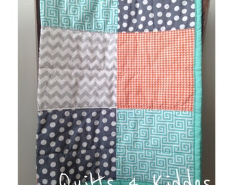 Baby Boy Quilt, Toddler Boy Quilt, Modern Handmade Quilt, Crib Quilt , Block Quilt, Orange, Turquoise, Grey, MADE TO ORDER