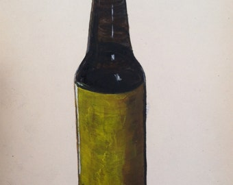 "Brown Bottle: black ink and acrylic original painting on 5x8"" paper"