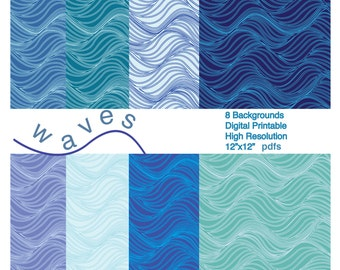 Waves Backgrounds printable Instant Digital Download 8 Colors