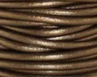 Leather Cord, 1.5 mm, Kansa - Metallic, 1YD (LC-1.5-52)