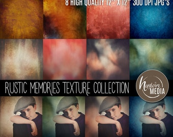 Rustic Memories Grunge Texture Collection - 8 JPEG Textures with 8 Overlay Versions for Photography Backgrounds and Scrapebooks