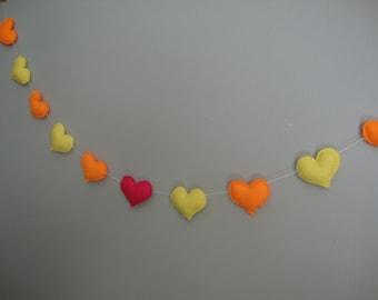 11 Felt Hearts Garland Banner
