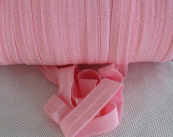 """Baby Pink Fold Over Elastic - 5 yards Fold Over Elastic - 5/8"""" Baby Pink Fold Over Elastic - Elastic By The Yard - Baby Pink FOE"""