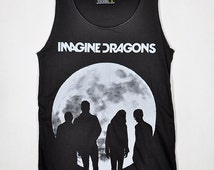 Imagine Dragons in the Moon Dan Reynolds Night Visions Dark Gray Unisex Vest Tank Top