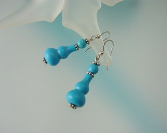 Natural Turquoise Dangle Earrings - Blue Turquoise and Coral Sterling Silver Jewelry