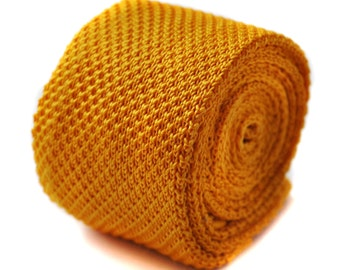 Plain yellow gold knitted skinny tie by Frederick Thomas FT275