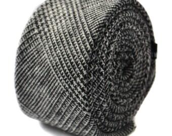 grey tweed wool skinny tie by Frederick Thomas FT1645
