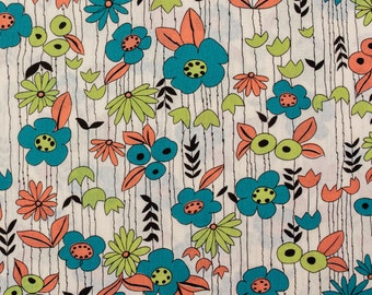 Perky flowers, blue and green - Fat Quarter