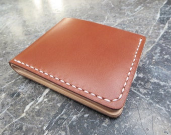 Vegetable Tanned Leather Wallet,Bi-fold Wallet,Light Brown & Natural Tan,Handmade Hand-stitched