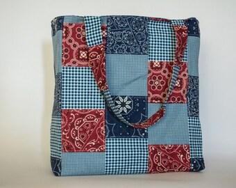 Western Blue and Red Bandana Tote Bag