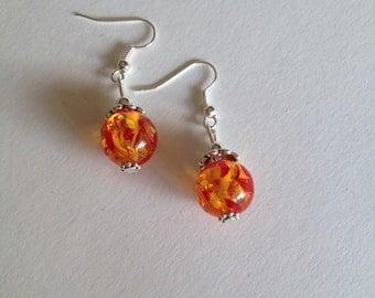 Handmade Amber Droplet Earrings