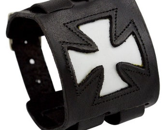 Cross leather cuff, wide black leather bracelet with a white cross and decorative stitching with 2 straps, leather wristband