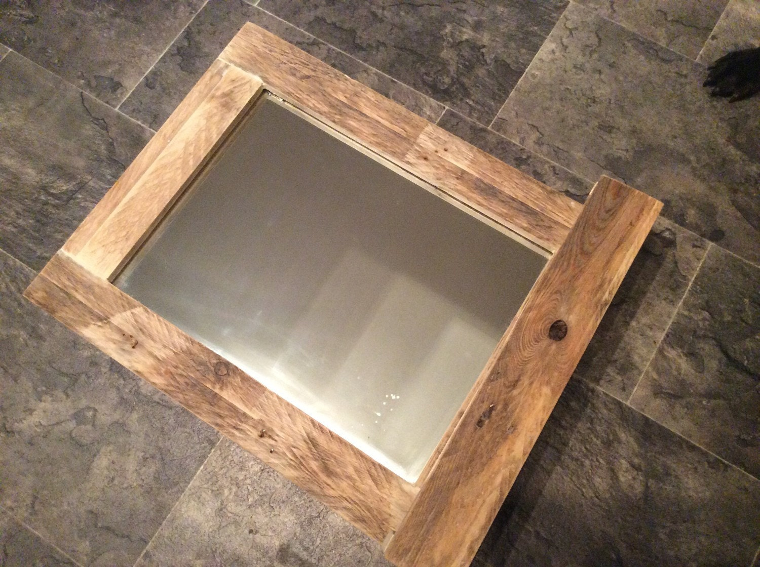 Rustic Bathroom Mirror Made From Reclaimed Pallet By