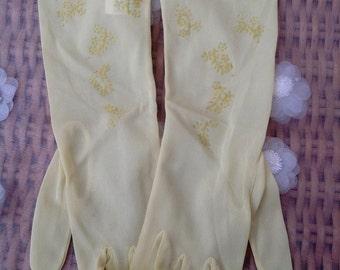 1950's lemon sheer long evening gloves