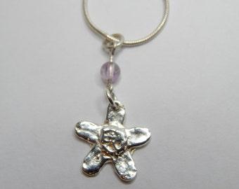 Silver Daisy pendant, 18 inch Snake Chain