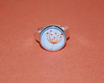 Adjustable red comic flower ring