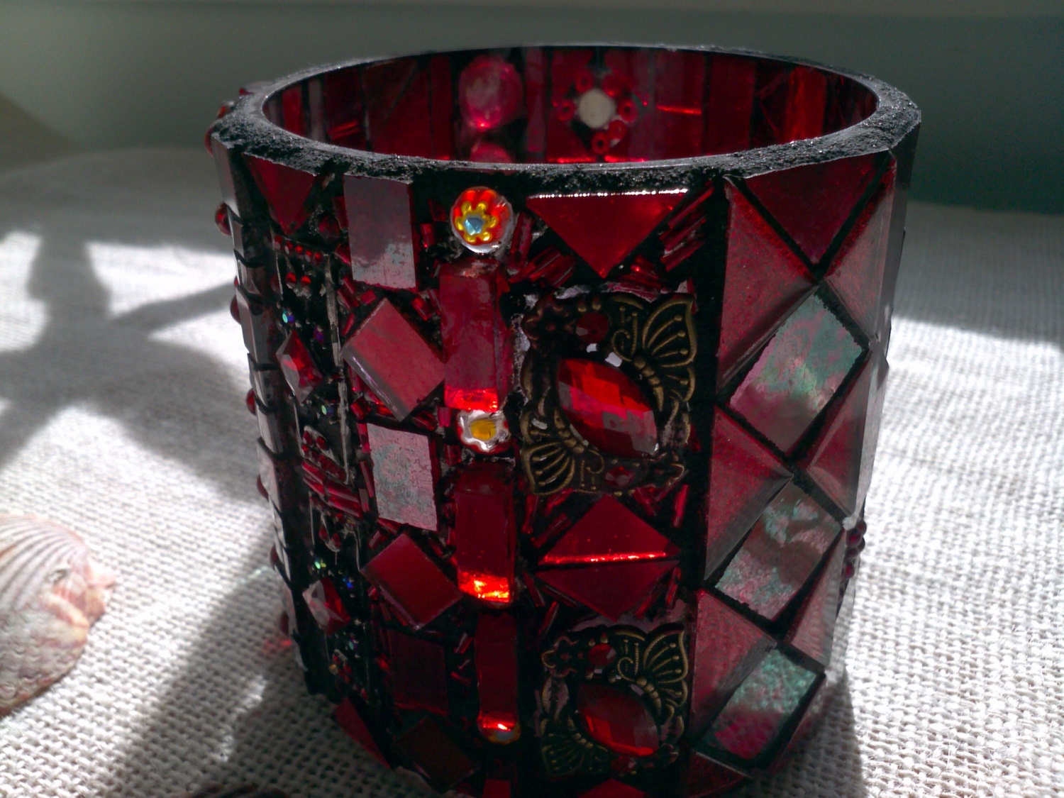ruby red glass mosaic candle holder by bohemianglassworks on etsy. Black Bedroom Furniture Sets. Home Design Ideas
