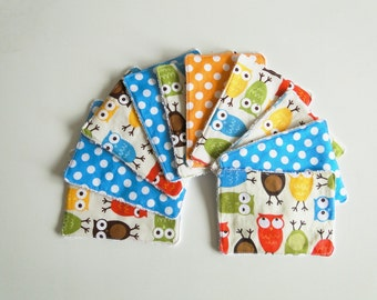 "Pack of 10 washable cotton and sponge wipes ""Owls"""