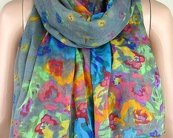 Gray cotton scarf, flowers bloom printed scarf, beach is prevented bask in scarves, shawls, collar